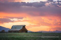 Sunset Barn Wet Mountain Valley print