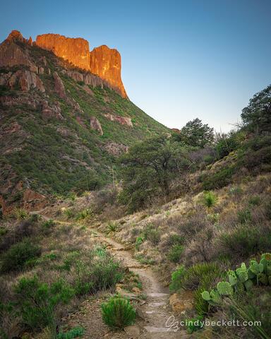 Casa Grande Peak captures warm sunrise light along the Lost Mine trail through Juniper Canyon.