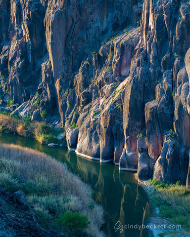 Sunrise light just brushes the canyon wall along the Rio Grande river as it winds its way through the Big Bend area in southwest Texas.