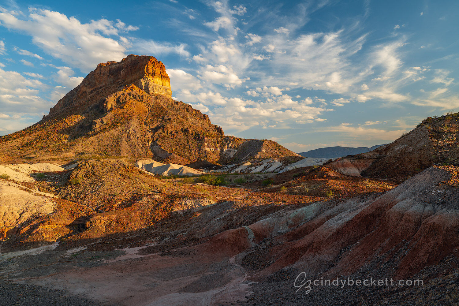 Cerro Castellan peak, an ancient volcanic formation, rises above Tuff Canyon an area with beautiful colors and fascinating geology in Big Bend National Park