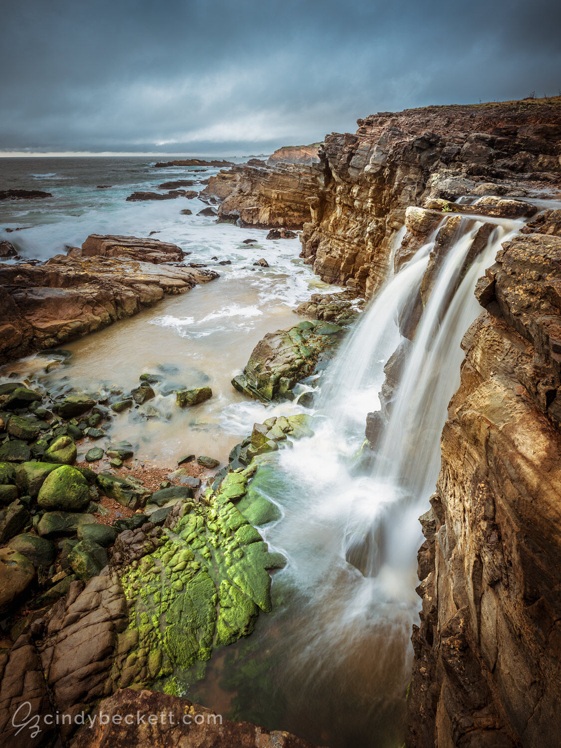 A seasonal waterfall on the California coast runs with strong water from spring rains, bringing to life moss on the rocky beach and returning water to the ocean