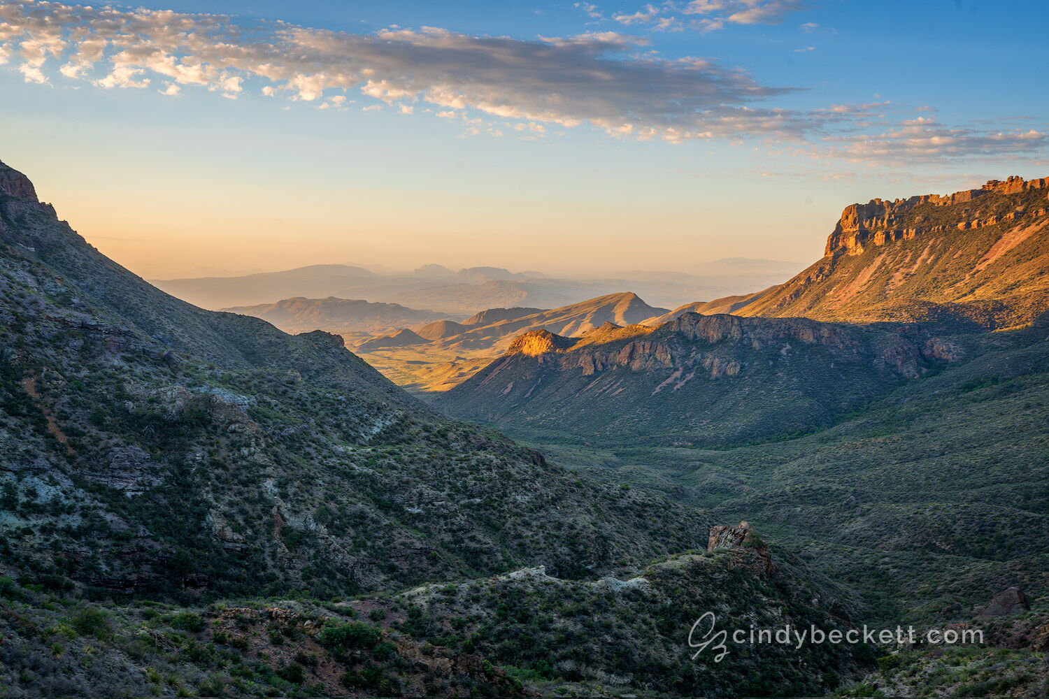 Sunrise light on southeastern face of Juniper Canyon as captured from the saddle on Lost Mine trail in Big Bend National Park.